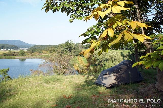 Nuestra carpa en uno de los tantos camping gratis en Japón