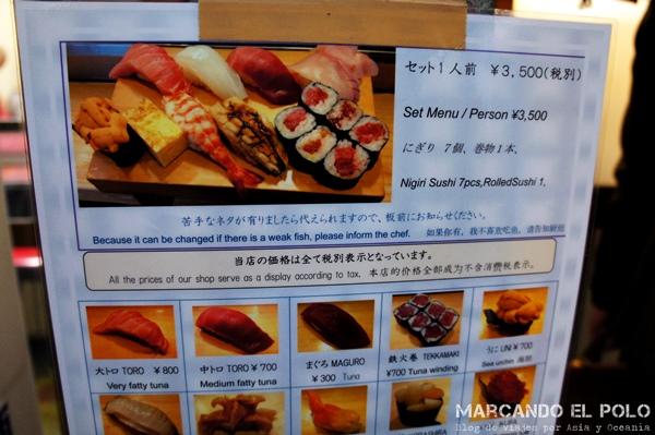 Un desayuno de sushi en el Tsukiji market te va a costar Y 3,500. ¡Duro para un mochilero!
