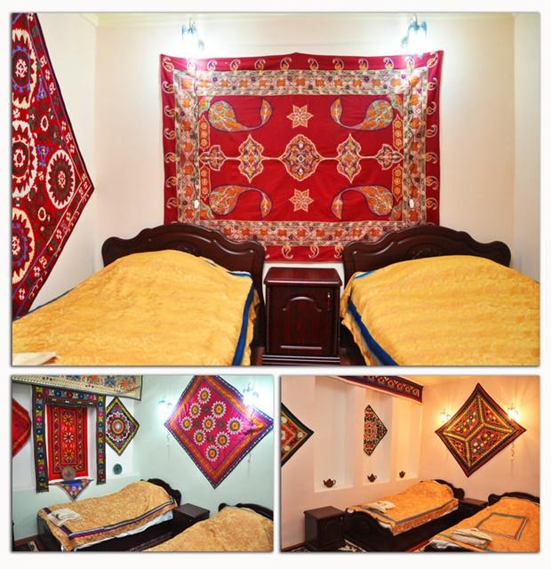 Las habitaciones tienen una decoración única de Asia Central.