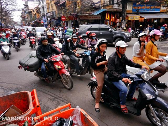 Guia viajar en moto Vietnam - Trafico Hanoi