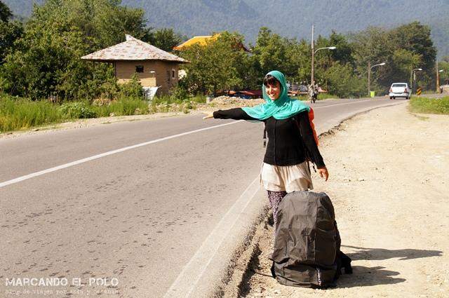 Viajar a dedo Irán - tecnica