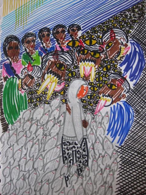 Dibujo que hice sobre mis miedos antes de viajar a India - Eugenia Rodam+on