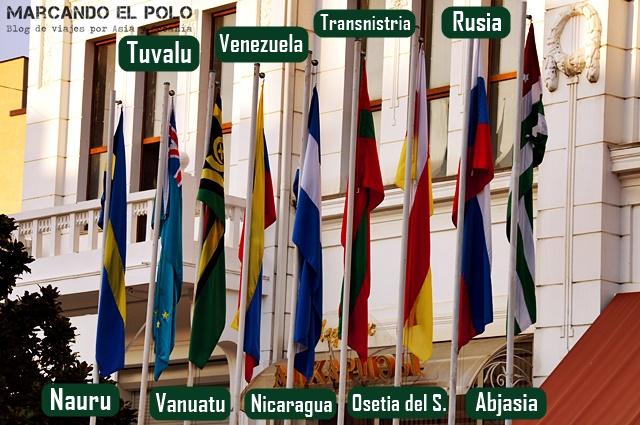 Paises que reconocen la independecia (Tuvalu y Vanuatu la dieron de baja)