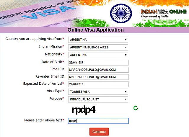 Visa de India - Formulario embajada de India en Buenos Aires