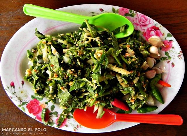 Comida Sudeste asiatico - - ensalada hojas de te fermentadas Lahpet, Myanmar