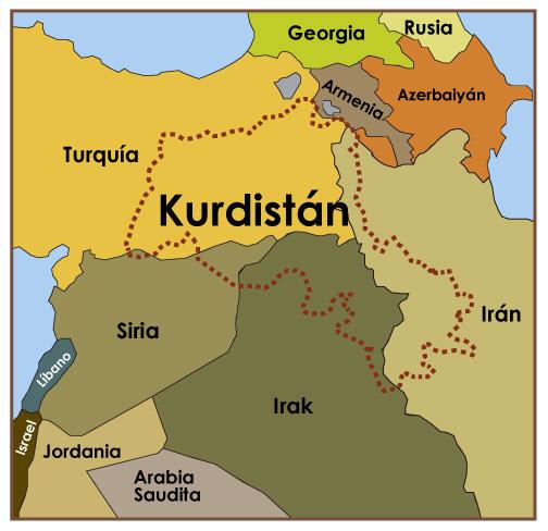 Mapa Kurdistan