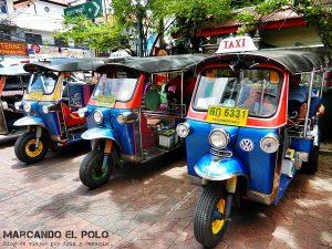 Transporte en el Sudeste asiatico: tuk tuk en Tailandia