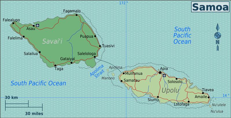 Viajar a Samoa - mapa de Samoa