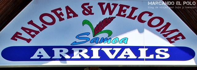 Viajar a Samoa - Cartel bienvenida aeropuerto
