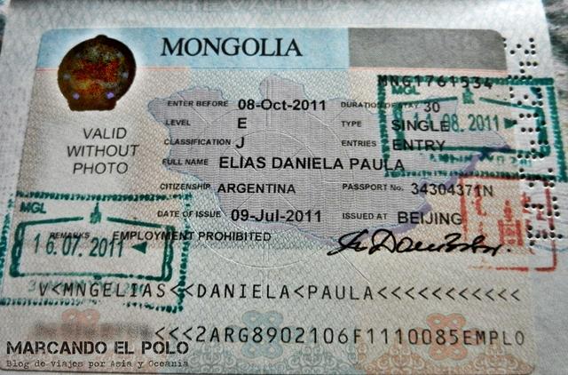 Visa de Mongolia pasaporte argentino