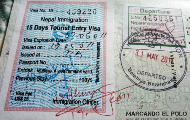 Viaje de mochilero a Nepal - Visa